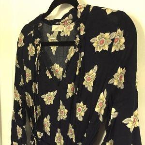 LOFT Floral Midi Dress, Belted, Medium